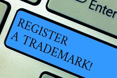 Conceptual hand writing showing Register A Trademark. Business photo showcasing To record or list as official company. Brand or logo Keyboard key Intention to royalty free stock image