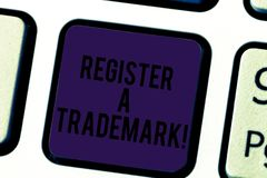 Conceptual hand writing showing Register A Trademark. Business photo text To record or list as official company brand or. Logo Keyboard key Intention to create royalty free stock image