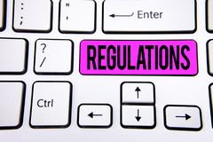 Conceptual hand writing showing Regulations. Business photo text Rules Laws Corporate Standards Policies Security Statements writt. En Key Button White Keyboard Stock Photo