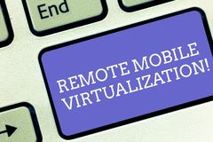 Conceptual hand writing showing Remote Mobile Virtualization. Business photo text can remotely control an Android. Virtual machine Keyboard key Intention to royalty free stock photos