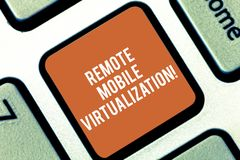 Conceptual hand writing showing Remote Mobile Virtualization. Business photo text can remotely control an Android. Virtual machine Keyboard key Intention to royalty free stock photo