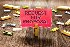 Conceptual hand writing showing Request For Proposal. Business photo text document contains bidding process by agency or company C. Lips spread woody table learn stock photography