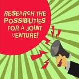 Conceptual hand writing showing Research The Possibilities For A Joint Venture. Business photo text Make a partnership deal Male. Hu analysis Hand Holding stock image