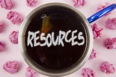 Conceptual hand writing showing Resources. Business photo showcasing Money Materials Staff and other assets needed to run a compan. Y written Tea in Cup within Stock Photography