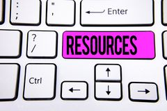 Conceptual hand writing showing Resources. Business photo text Money Materials Staff and other assets needed to run a company writ. Ten Key Button White Keyboard Royalty Free Stock Photo