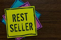 Conceptual hand writing showing Rest Seller. Business photo text one feature or the perceived benefit good which makes it unique P. Aper notes Important royalty free stock images