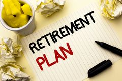 Conceptual hand writing showing Retirement Plan. Business photo showcasing Savings Investments that provide incomes for retired wo. Rkers written Notebook Paper Stock Photo