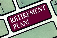 Conceptual hand writing showing Retirement Plan. Business photo text Savings Investments that provide incomes for. Retired workers Keyboard key Intention to stock photos