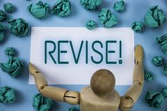 Conceptual hand writing showing Revise Motivational Call. Business photo text Reconsider something to improve it Review written on. Conceptual hand writing Stock Image