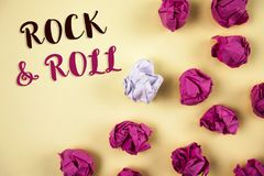 Conceptual hand writing showing Rock and Roll. Business photos showcasing Musical Genre Type of popular dance music Heavy Beat Sou. Conceptual hand writing royalty free stock images