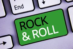 Conceptual hand writing showing Rock and Roll. Business photos text Musical Genre Type of popular dance music Heavy Beat Sound. Conceptual hand writing showing royalty free stock photos