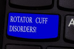 Conceptual hand writing showing Rotator Cuff Disorders. Business photo text tissues in the shoulder get irritated or. Damaged Keyboard key Intention to create royalty free stock photography