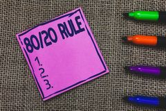 Conceptual hand writing showing 80 20 Rule. Business photo showcasing Pareto principle 80 percent effects come from 20 causes Purp stock photos