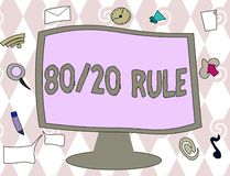 Conceptual hand writing showing 80 20 Rule. Business photo text Pareto principle 80 percent effects come from 20 causes.  stock illustration