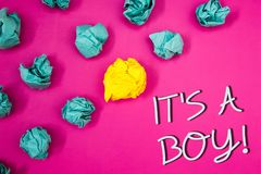 Conceptual hand writing showing It S A Boy Motivational Call. Business photos showcasing Male baby is coming Gender reveal Celebra royalty free stock images