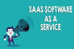 Conceptual hand writing showing Saas Software As A Service. Business photo text the use of cloud based App over the. Internet stock illustration
