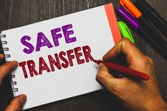 Conceptual hand writing showing Safe Transfer. Business photo text Wire Transfers electronically Not paper based Transaction Man h. Olding notebook paper royalty free stock image