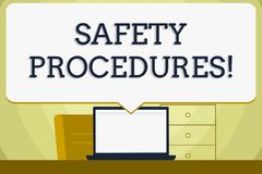 Conceptual hand writing showing Safety Procedures. Business photo showcasing Follow rules and regulations for workplace. Conceptual hand writing showing Safety royalty free illustration