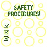 Conceptual hand writing showing Safety Procedures. Business photo showcasing Follow rules and regulations for workplace. Conceptual hand writing showing Safety vector illustration