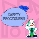 Conceptual hand writing showing Safety Procedures. Business photo text Follow rules and regulations for workplace. Conceptual hand writing showing Safety royalty free illustration