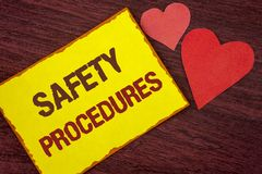 Conceptual hand writing showing Safety Procedures. Business photo text Follow rules and regulations for workplace security written. Yellow Sticky note paper Stock Images