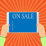 Conceptual hand writing showing On Sale. Business photo showcasing Opportunity buy something cheaper Discount ready to. Be purchased stock illustration