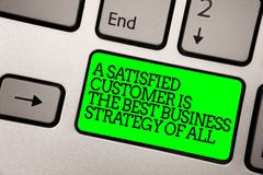 Conceptual hand writing showing A Satisfied Customer Is The Best Business Strategy Of All. Business photo showcasing Good Service. Keyboard green key computer stock photography