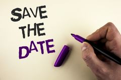 Conceptual hand writing showing Save The Date. Business photo showcasing Organizing events well make day special by event organize. Rs written by Man plain Stock Photography