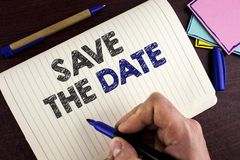 Conceptual hand writing showing Save The Date. Business photo showcasing Organizing events well make day special by event organize. Rs written by Man Notebook Royalty Free Stock Photos