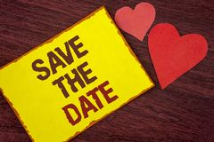 Conceptual hand writing showing Save The Date. Business photo text Organizing events well make day special by event organizers wri. Tten Yellow Sticky note paper Stock Photos
