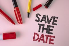 Conceptual hand writing showing Save The Date. Business photo text Organizing events well make day special by event organizers wri. Tten plain Pink background Stock Photography