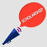 Conceptual hand writing showing Scholarship. Business photo showcasing Grant or Payment made to support education Academic Study.  stock illustration