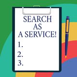 Conceptual hand writing showing Search As A Service. Business photo showcasing Enterprise searching web research online. Technology Sheet of Bond Paper on royalty free illustration