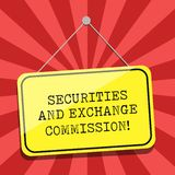 Conceptual hand writing showing Securities And Exchange Commission. Business photo showcasing Safety exchanging. Commissions financial Blank Hanging Color Door vector illustration