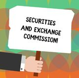 Conceptual hand writing showing Securities And Exchange Commission. Business photo showcasing Safety exchanging. Commissions financial Hu analysis Holding vector illustration