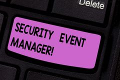 Conceptual hand writing showing Security Event Manager. Business photo text tools used to analysisage multiple security. Applications Keyboard key Intention to royalty free stock image