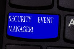 Conceptual hand writing showing Security Event Manager. Business photo text tools used to analysisage multiple security. Applications Keyboard key Intention to stock photo