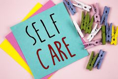 Conceptual hand writing showing Self Care. Business photo showcasing Protection you give to yourself Individual control checking. Conceptual hand writing showing royalty free stock image