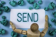Conceptual hand writing showing Send. Business photo text Arrange something to be delivered Mail a thing Deliver a message written. Sticky note paper Blue Royalty Free Stock Photography