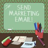 Conceptual hand writing showing Send Marketing Email. Business photo showcasing targeting of consumers through. Electronic mail Mounted Blackboard with Chalk royalty free illustration