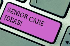 Conceptual hand writing showing Senior Care Ideas. Business photo text encompasses any services required to assist old. Citizens Keyboard key Intention to stock image