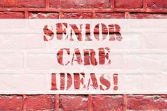 Conceptual hand writing showing Senior Care Ideas. Business photo text encompasses any services required to assist old. Citizens Brick Wall art like Graffiti stock images