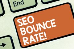 Conceptual hand writing showing Seo Bounce Rate. Business photo showcasing Search engine optimization visitors navigate. Off the site Keyboard key Intention to royalty free stock photos