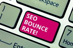 Conceptual hand writing showing Seo Bounce Rate. Business photo text Search engine optimization visitors navigate off. The site Keyboard key Intention to create royalty free stock photography