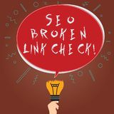 Conceptual hand writing showing Seo Broken Link Check. Business photo showcasing Search engine optimization error in stock illustration