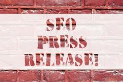 Conceptual hand writing showing Seo Press Release. Business photo text make sure that links going back websites in your. Press Brick Wall art like Graffiti stock photos