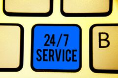 Conceptual hand writing showing 24 7 Service. Business photo text Always available to serve Runs constantly without disruption Key. Board blue key Intention stock image