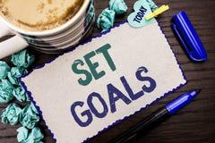 Conceptual hand writing showing Set Goals. Business photo showcasing Target Planning Vision Dreams Goal Idea Aim Target Motivation. Written Cardboard Piece Stock Images