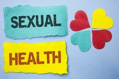 Conceptual hand writing showing Sexual Health. Business photo showcasing STD prevention Use Protection Healthy Habits Sex Care wri. Tten Tear Papers the Sky Blue royalty free stock photos