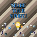 Conceptual hand writing showing Share Your Story. Business photo showcasing Experience Nostalgia Memory Personal. Conceptual hand writing showing Share Your stock illustration